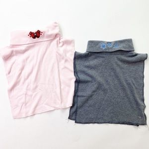Vintage 2 Christmas Dicky Collars Pink Gray Snow